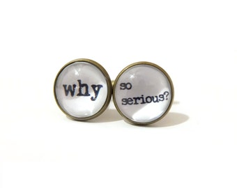 Why So Serious Cufflinks, Fashion Cufflink, Geekery Cuff Links, Joker Cufflinks, Batman Cufflinks, Quote Cufflinks, Typewriter Cufflinks