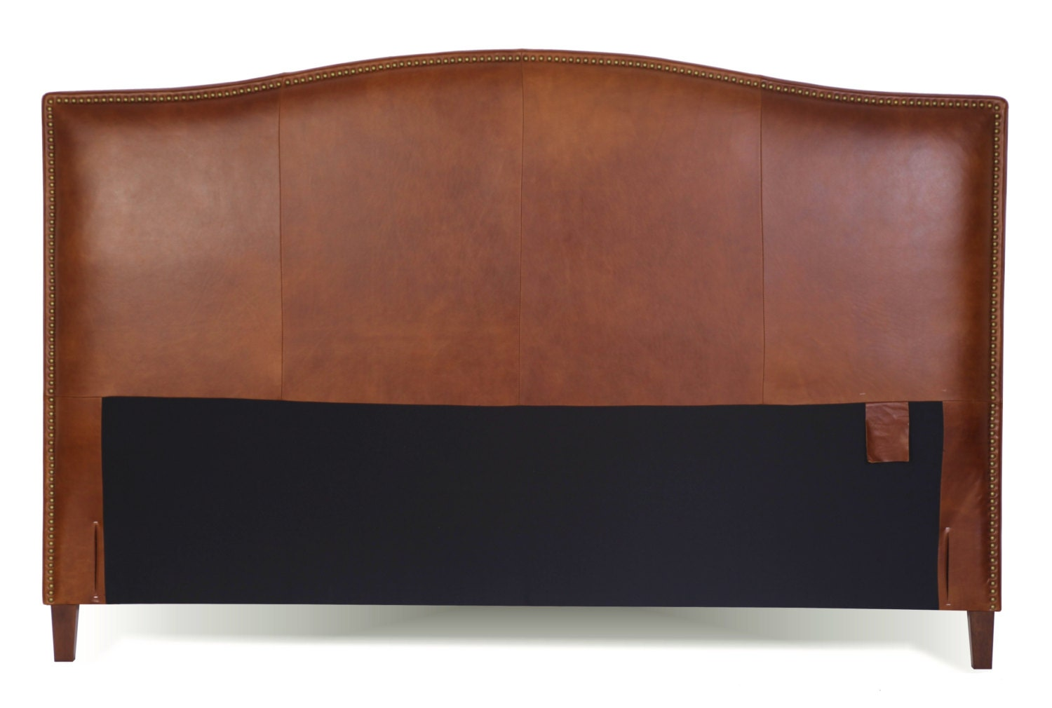 Queen Size Leather Headboard In Tobacco Brown Genuine Leather