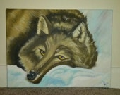 Snowy Lone Wolf Painting