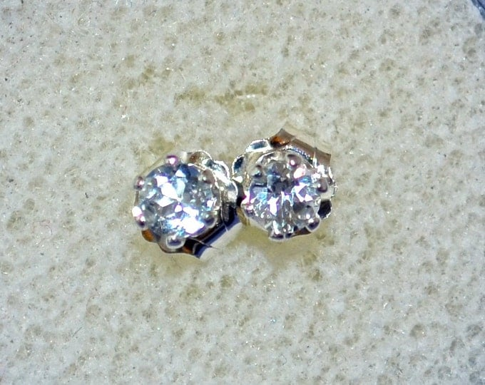 Aquamarine Stud Earrings, Petite 3mm Round, Natural, Set in Sterling Silver E620