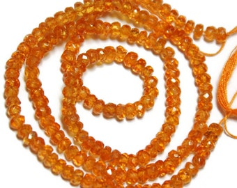 Genuine orange sapphire micro-faceted rondelles, undyed.  Approx. 3.5mm   (6 beads)