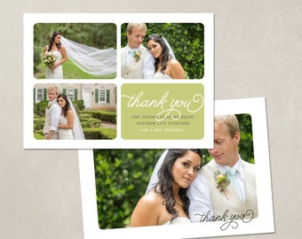 Wedding Thank You Card - Template for Photographers PSD Flat card - Simple Thanks CT002