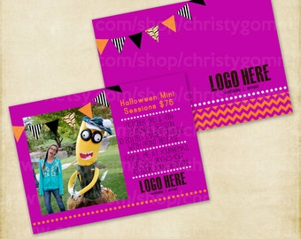5x7 Halloween Mini Sessions Marketing Template PSD Photography Branding pennant bunting MN0047