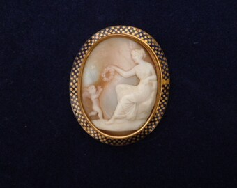 Cameo Shell Brooch Cupid and Venus Vintage Love Pin Antique