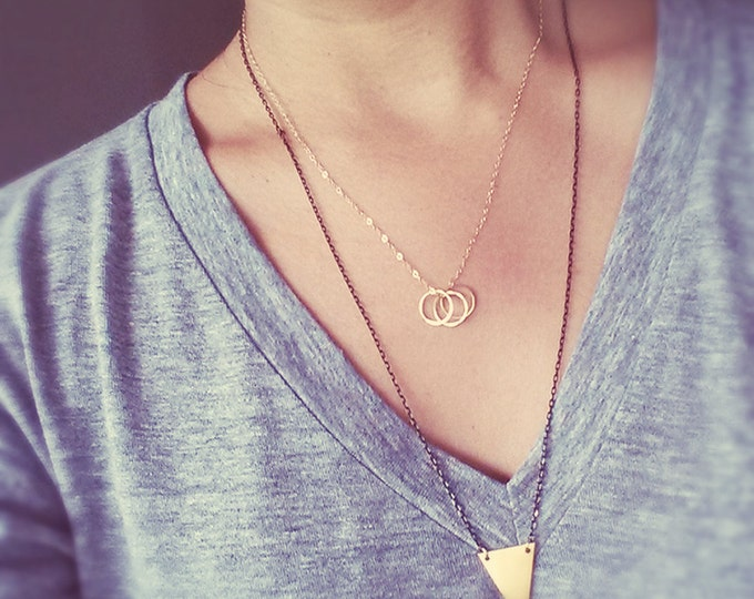 Gold Circles Necklace - 14K Gold Filled Chain