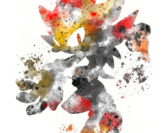 Shadow the Hedgehog ART PRINT illustration, Gaming, Home Decor, Wall Art, Sonic