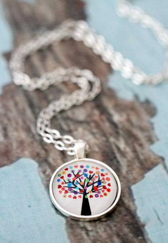 FREE SHIPPING Rainbow Tree. Glass necklace in silver or bronze.
