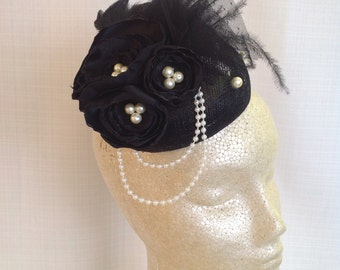 BLACK BUTTON FASCINATOR Hat with Pearls