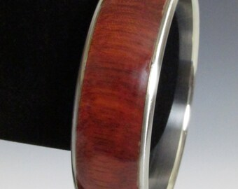 Stainless Steel and Wood Bangle size 8  - - item no. 1802