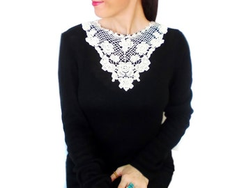 White statement lace necklace, French Lace necklace, Steampunk, Floral necklace, Gothic, Fashion Designer Jewelry