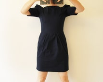 Navy short dress, blue dress with pockets, pleated dress, tulip dress, puff sleeve dress, steampunk clothing