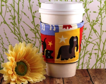 Pups on Squares Coffee Cozy - Dog Coffee Cozy - Puppy Coffee Cozy - Coffee Cozy - Fabric Coffee Cozy - Tea Cozy