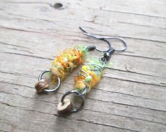 Fiber earrings - Eco Jewelry - Tie Dye Earrings - Fuzzy Orange Earrings - Boho Jewelry - Unique Jewelry - Gift for girlfriend