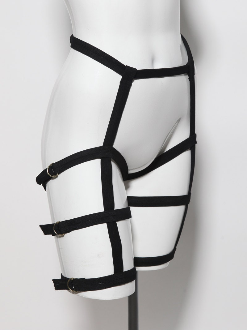 Black triple leg harness belt adjustable vegan futuristic