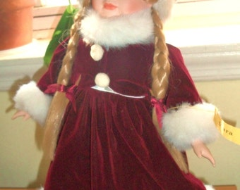 Reduced! Christmas Porcelain Doll