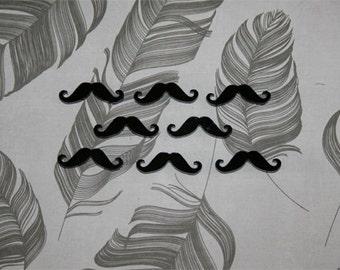 8x laser cut acrylic mustache cabochons