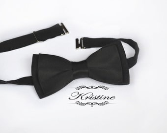 Men Black Satin Bow Tie - Groom Bow Tie - Men Bow Tie- Wedding Bow Tie- Special Occasion Bow Tie- Women Bow Tie