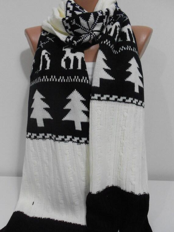 20% OFF Nordic scarf deer scarf Knit scarf Chunky by ScarfClub