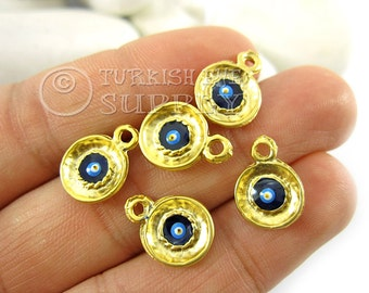 5 pc Gold Disc Charms with Enameled Evil Eye, Matte 22K Gold Plated with Evil Eye, Turkish Jewelry, Turkish Findings, Good Luck Charms