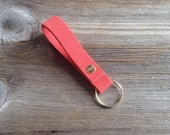 Hand made coral suede soft cowhide leather key fob, keyring keyfob with gold or silver detailing.
