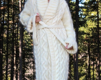 Hand Knit Mohair Coat Cardigan White Fuzzy Crochet Sweater Jacket by EXTRAVAGANTZA - MADE to ORDER