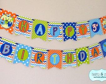 Monster Party Happy Birthday Banner - Little Monster / Monster Bash! - FILE to PRINT DIY