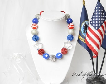4th of July chunky bubblegum statement necklace, baby, toddler, girl, women, red, white, and blue, star, summer, patriotic, memorial day