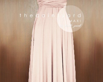 MAXI Nude Pink Bridesmaid Convertible Dress Infinity Multiway Wrap Dress Wedding Dress Full Length Cocktail Dress Evening Dress Prom Dress