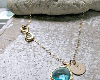 Personalized Infinity Necklace Aqua Necklace monogram Initial Aqua Jewelry Infinity Jewelry Beach Wedding march birthstone monogram jewelry