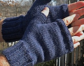Fingerless Gloves Men's Texting Gloves Handknit Deep Denim Blue Washable Merino Wool Knit Fingerless Gloves Handwarmers Men's Texting Gloves