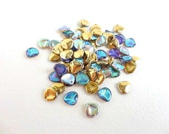 60 x 8x7mm Czech Glass Beads, Crystal Golden Rainbow Rose Petal Czech Glass Beads, Blue Petal Beads, Glass Petal Beads PET0012