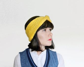 Knit Twisted Headband - Thick Ear Warmer in Yellow - Woman Accesories / Winter Fashion | The Juno Headband |