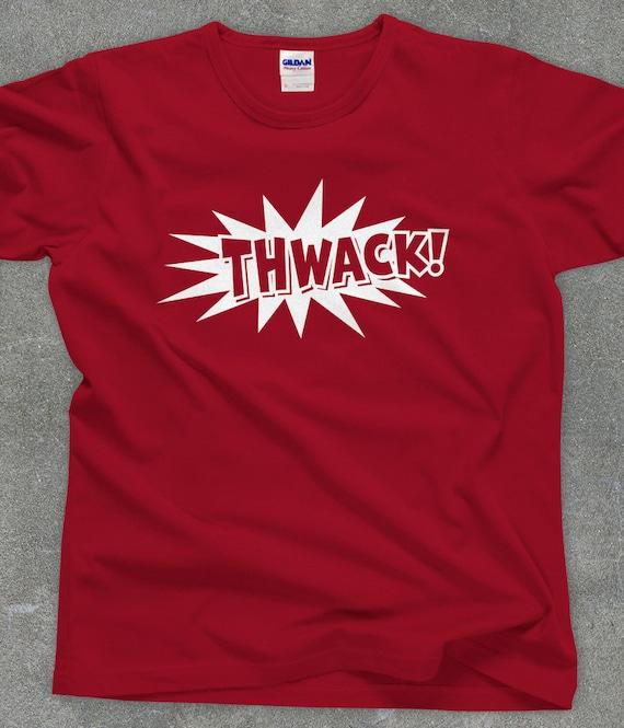 Funny THWACK! tshirt comic book t-shirt cartoon tee - You Choose Color