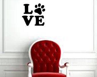 """Love (with paw) pet/animal wall decal (11"""" X10.5"""")"""