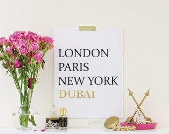 Cities Gold Foil Print London Paris New York Dubai