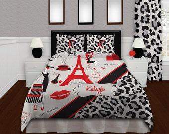 paris bedding paris dorm bedding cheetah print duvet cover paris theme bedding