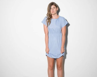 CLOUDS ABOVE Dress [pale blue short sleeved dress with gathered waist]