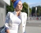Blue White Happy Dots Headband, Twisted Head Wrap, Stretchy Cotton Hair Band, Turban Twist Headband - Stylish summer accessories