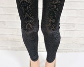 Black velvet sexy hollow floral leggings pantyhose lace sheer vintage flower slim skinny fit pants tights S/M