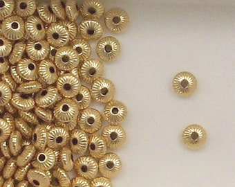 14k Gold Filled 6mm Corrugated Rondelle Spacer Beads, Choice of Lot Size-Price