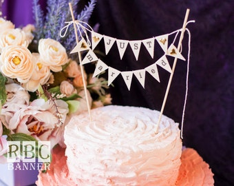 Just Married Wedding Cake Topper Banner with golden hearts