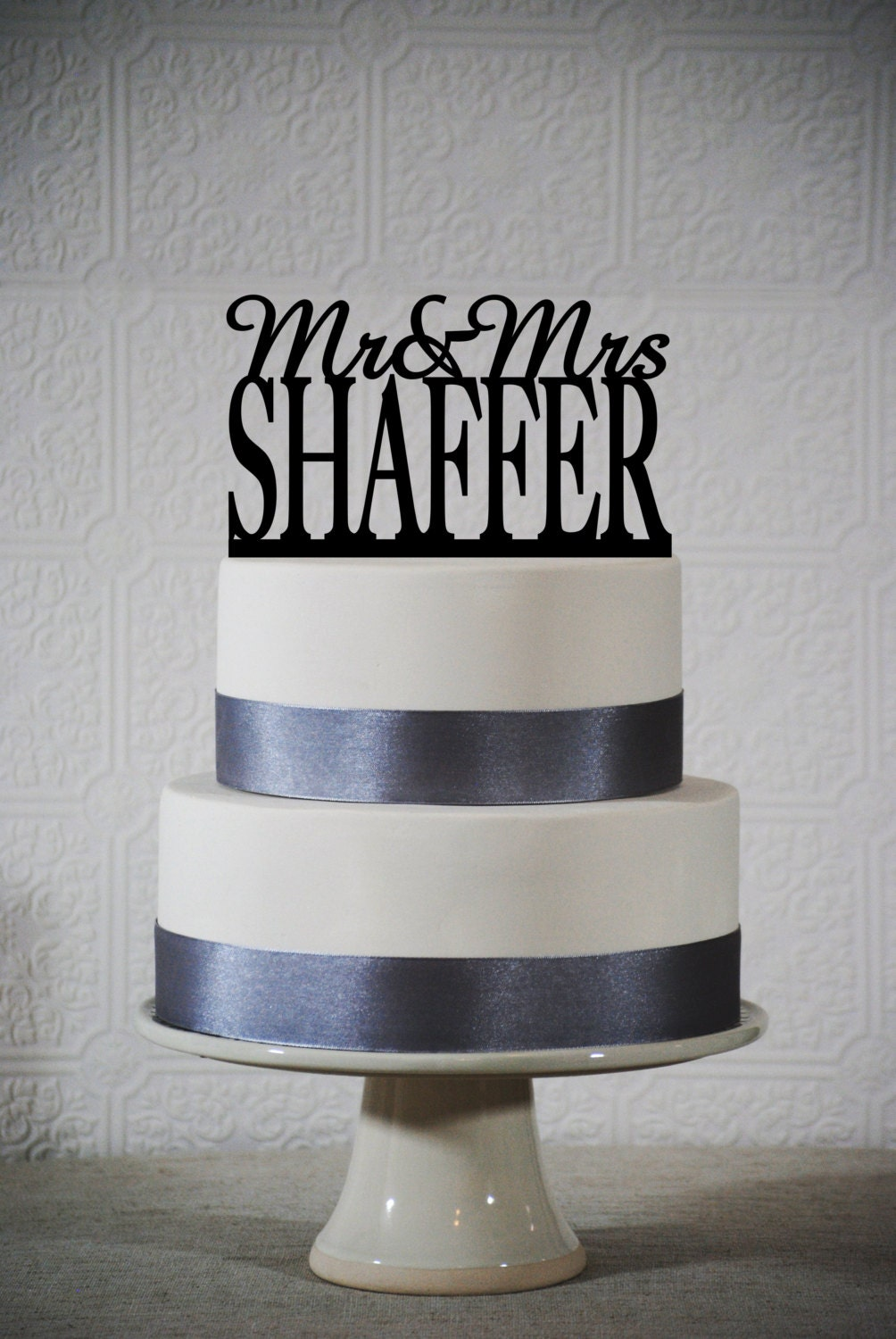 Last Name Wedding Cake Topper Customize By ChicagoFactoryDesign