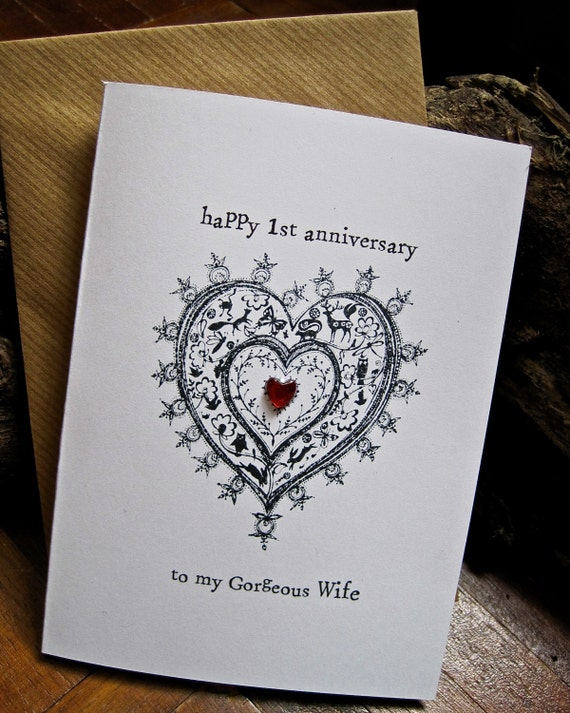 Anniversary card for husband wife letter press hand by