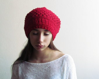 Red slouchy beanie / Winter hat / Slouchy Hat / Red beanie /  28 DIFFERENT COLORS