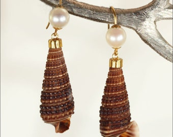Antique Pearl & Shell Earrings, 9k Gold, c. 1910