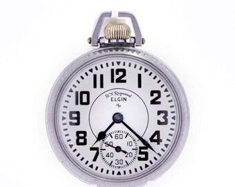 Elgin B.W.Raymond Stainless Steel Pocket Watch 1950s