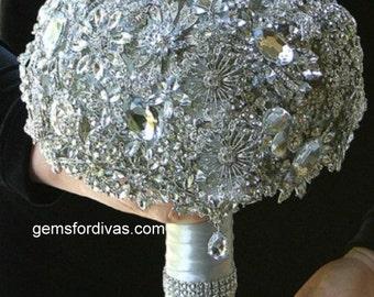 Brooch Bridal Bouquet, Bling Wedding Flowers, Crystal Brooch, Bridal Jewelry Set,