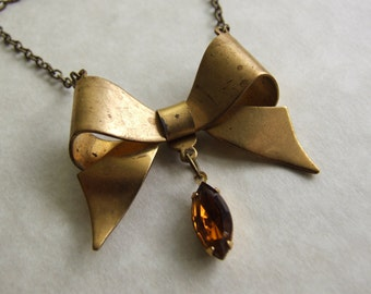 Large Bow Brass Necklace, Vintage Glass Pendant, Smoky Topaz Rhinestone Necklace