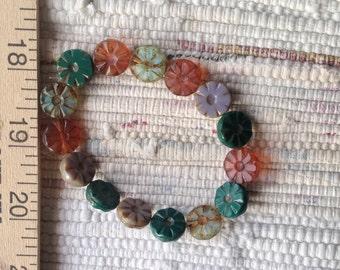 Mix Czech Artisan 12 mm Flat Flower Picasso Beads - 15 Beads
