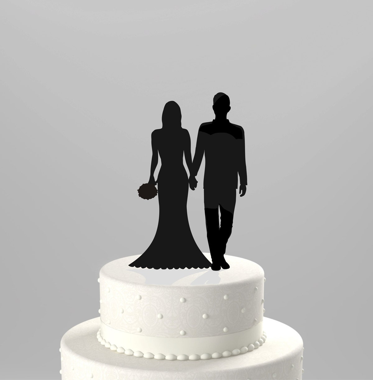 Bride Wedding Cake Topper: Wedding Cake Topper Silhouette Groom And Bride Hand In Hand